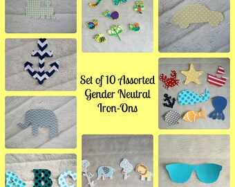 10 Assorted Gender Neutral Iron Ons, Onesie Decorating Station for Baby Shower