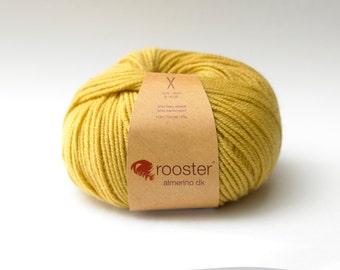 DK Yarn, yellow yarn, Rooster Yarn, DK wool, alpaca and merino wool, 50g ball of wool in Custard colourway, yellow wool, knitting wool, UK