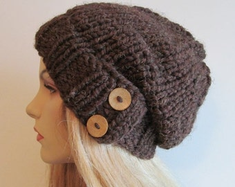 SALE Slouchy Beanie Slouch Wool Hats Oversized Baggy Beret Two Buttons womens fall winter accessory Brown Super Chunky Hand Made Knit