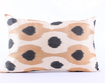 Ikat, Polka Pillow Cover, Decorative Pillows,  Couch  Pillows, Ikat Pillowcase, Silk, Eclectic Home Decor