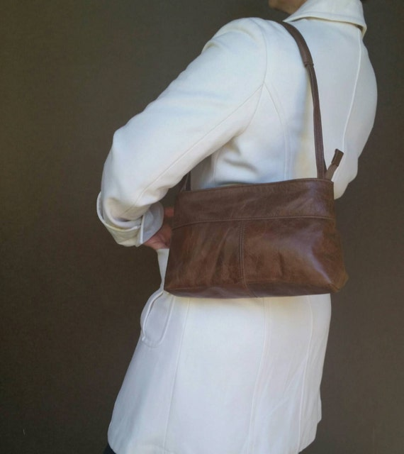 Brown Rustic Leather Purse Small Everyday Shoulder Bag By