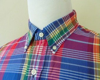 "Vintage POLO by Ralph Lauren 100% Cotton Indian Madras Plaid Trad / Ivy League Long Sleeved Shirt ""CUSTOM FIT"" L 16 - 34.  Made in India."