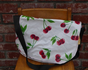 Handmade Oilcloth Messenger Bag Purse White with Red Cherries Retro
