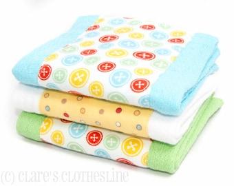Baby Burp Cloths - Multicolor Buttons Burp Cloth Set of 3 - READY TO SHIP