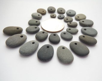 Small Top Drilled Beach Pebble Beads - Set of 25