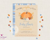 Pumpkin Baby Shower Invitation // Little Pumpkin Invitation // Fall Baby Shower Invitation // Baby Sprinkle // Baby Boy // Fall Invitation