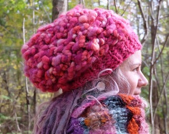 Chunky hat Slouchy hat woman Pink beanie Chunky beanie Thick knit hat Handspun hat Chunky beret Warm Dreadlocks hat Oversized knit SALE