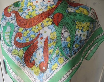 Vintage 1950s scarf silk floral paisley  22 x 23 inches