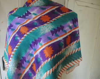 Vintage scarf ethnic tribal global abstract  31 x 31 inches