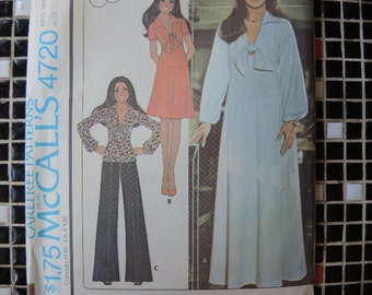 vintage 1970s McCalls sewing pattern 4720  Marlos Corner misses dress or top and pants uncut size 12