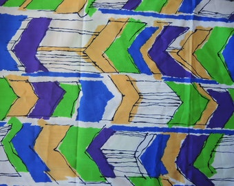 vintage 1970s mod era synthetic fabric abstract arrows Klopman Mills 1971 44 inches wide 2 yards and 12 inches