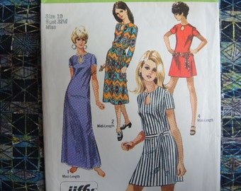 vintage 1970s Simplicity sewing pattern 8722 jiffy dress in three lengths size 10