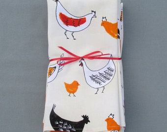 Chicken Napkins Set of 6 100% Cotton