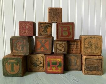 Antique Wood Alphabet Children's Primitive Toy Blocks Victorian Graphics Letters Animals, Set of 14
