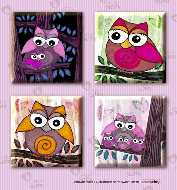 """Collage sheet 1 inch square """"Cute Owls"""" (1OS21) - 48 images of owls for resin or glass tiles, magnets, jewelry, tags, party decors, etc."""