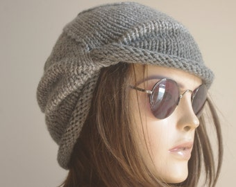 WINTER Chemo Cap - Gray Chemo Hat Womens Cancer Headwear and Slouch Beanie