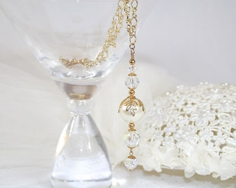 Faux Pearl and Crystal Pendant Necklace Handcrafted from Vintage Elements Wedding Necklace Perfect for Any Occasion