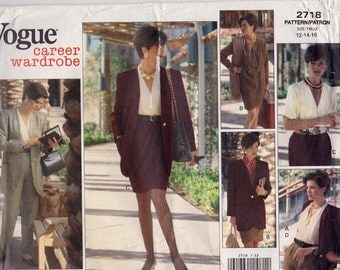 FF 90s Easy to Sew Dress, Jacket, Blouse, Skirt & Pants Sewing Pattern - Vogue Career Wardrobe 2718, Size 12-14-16, Bust 34 36 38 UNCUT