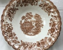 English Transferware Brown Transferware Tonquin Serving Bowl by Fransciscan made in England