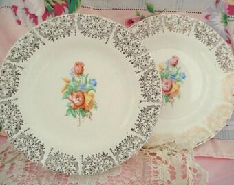 Vintage Wedding Shabby Dessert Plates Bread Butter Plates Floral Cottage Chic Set of 2 Vintage Bridal Shower
