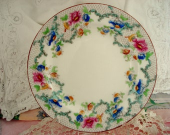 Vintage Plate Luncheon Salad Plate Cauldon England  Shabby Cottage Chic Vintage Wedding