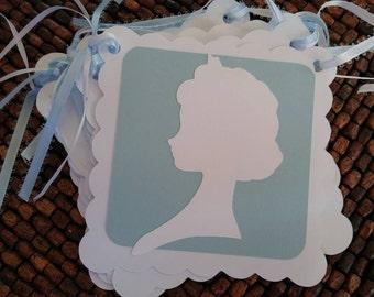 Frozen Birthday Banner -Princess Elsa Silhouette Banner-  Name Banner