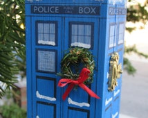 TARDIS Inspired Small Painted Blue Box Christmas Ornament