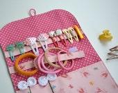 Hair clip organizer. Ballet shoes hair clip holder. Pink, peach fabric.Beauty organizer,8x5 inch when folded.Girls gift idea. Ready to ship