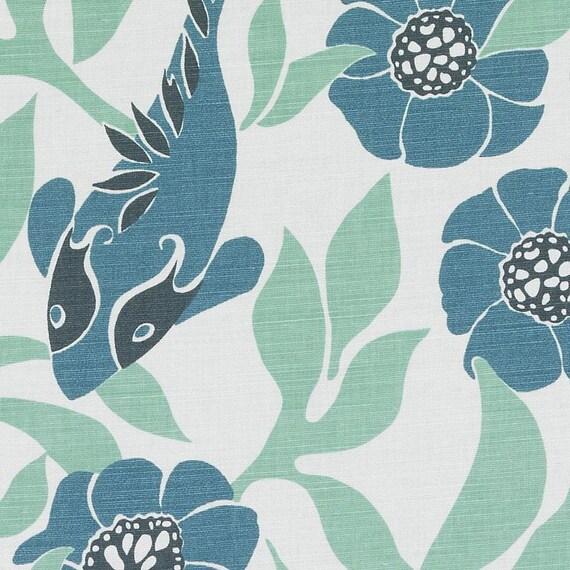 Teal Blue Linen Drapery Fabric - Bird Design Curtain Fabric - Teal ...