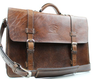 "Brown Leather Messenger Bag  Leather Briefcase Laptop Satchel fits Macbook Pro 16"" 150"