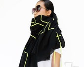 NO.1 Black/Acid Lime Cotton Geometric Corded Striped Appliqué Over-Sized Scarf-Hand Dyed, Unisex Scarf