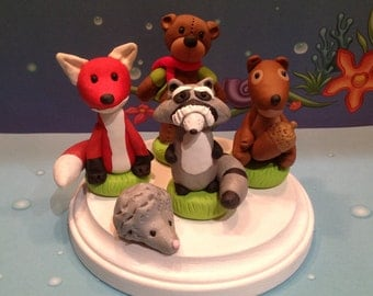 Polymer clay woodland cake topper,cake toppers,handmade, woodland animals,kids parties,cake decor,party decor,cakes,fox,Birthday parties