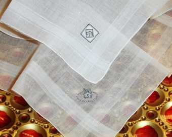 Edwardian Linen hankies with Monogram, His and Hers, Wedding hankies, White linen, 1920 hankies, vintage accessory, set of 2