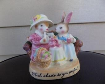Vintage 1980 Avon Sales Award, Which Shade do you prefer, Precious Moments Bunnies Figurines - knick knacks