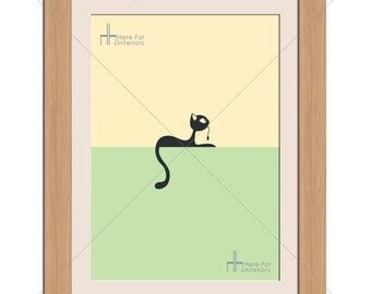 Minimalistic Cute Cat USB Pastel Illustration Photographic Print - Various Sizes - Gift Idea