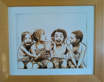Woodburn art Abounding Joy children laughing and playing burned on paper pyrography unique framed art