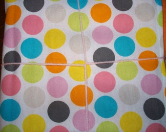 "GIANT DOTS with ORANGE Reverse Double Sided Flannel Blanket - 36 "" x 41"""