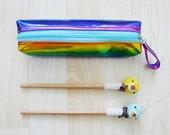Last One HOLOGRAPHIC Rainbow zipper pencil case, Metallic Glitter pouch, pencil bag, liquid look, soft grunge, colorful, vivid, kawaii, RAD