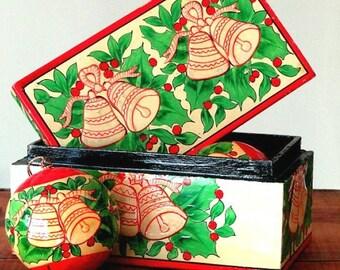 Vintage Christmas Tree Ornament Set, Decorative Box, Holiday Decor, Gift Box Set