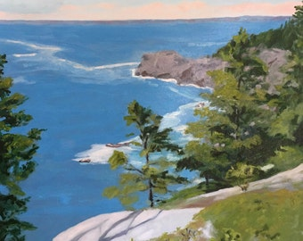 "Monhegan Island MAINE  , Gull Rock Large, 30"" X 30"" original oil painting on canvas Headlands and Cliff by Adrienne Kernan LaVallee blue"