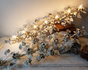 Bathroom light bar tole rose shabby cottage chic blue white chippy painted rare vanity wall lighting gold accents decor anita Spero design