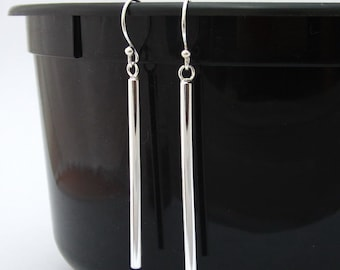 Cute Silver Earrings 925 Sterling Silver Bar Earrings Drop / Dangle Bar Earrings Geometric Line Stick Earrings, Simple Minimalist Jewelry