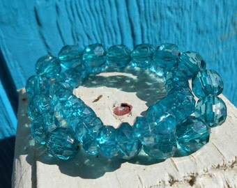 Vintage stretch bracelets acrylic aquamarine beads 1980s jewelry set of two bracelets Free USA shipping