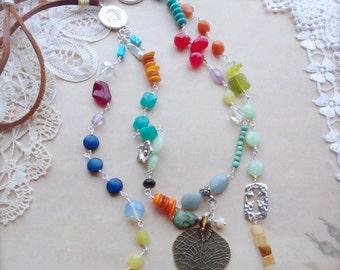 Western Necklace, Sundance Style Jewelry, Multi Color Long Necklace, BoHo Style Jewelry by The Crystal Corral *PRAIRIE DANCER*