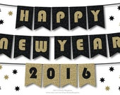 Happy New Year Bunting Banner, Glitter Party Decoration Black and Gold, Gatsby Theme Decor, Diy Printable