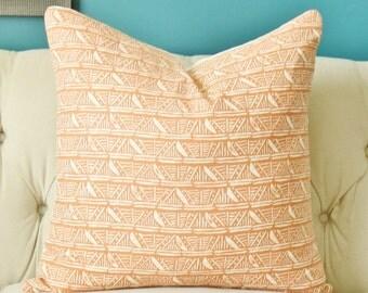 Bohemian Pillow - Nate Berkus Pillow Cover - Orange Salmon Geometric - Melon Creme Block Print Modern Pillow Cover - Neutral Home Decor