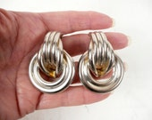 Vintage 80s Huge Art Deco Silver Tone Metal Industrial Clip Earrings