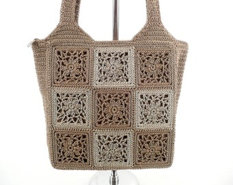 Vintage 90s Boho Beige patchwork Crochet Tote Bag Handbag Purse Jackson label M