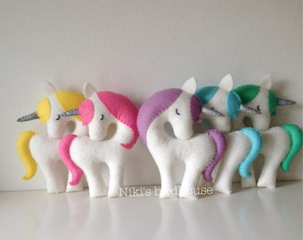 Rainbow Unicorn with silver horn Large 20cm