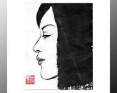 """Original Art """"Profile of a Japanese Girl""""  - in Japanese style - sumi-e drawing with wash ink - Wall decor - bamboo brash on rice paper"""